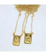 18k Gold Plated Scapular Escapulario Sacred Heart of Jesus & Virgin Mt. ... - $14.73