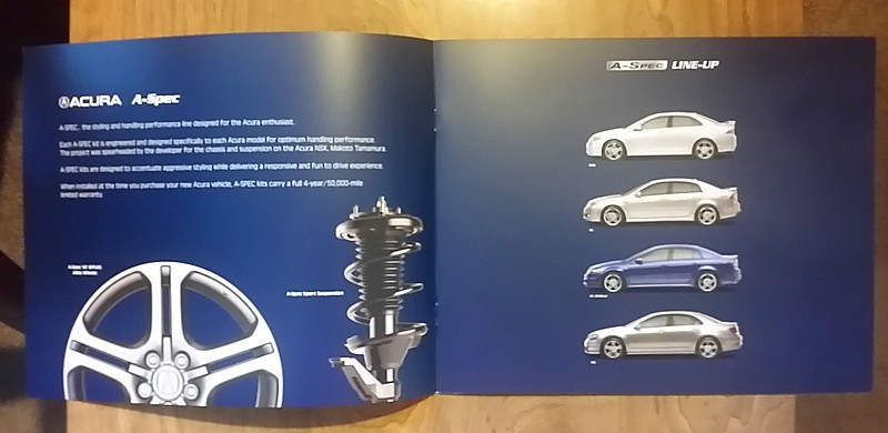 2007/2008 Acura A-SPEC parts accessories brochure catalog TSX TL RL Honda