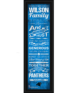 "Personalized Carolina Panthers 24 x 8 ""Family Cheer"" Framed Print - $39.95"