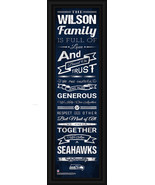 "Personalized Seattle Seahawks 24 x 8 ""Family Cheer"" Framed Print - $39.95"
