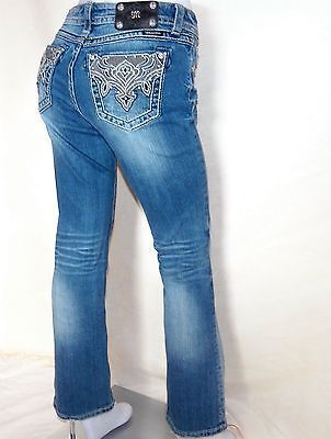 Miss Me Distressed Shredded Embroidered Pockets Easy Boot Jeans 28 x 31 JW5383ER
