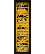 "Personalized Boston Bruins ""Family Cheer"" 24 x 8 Framed Print - $39.95"