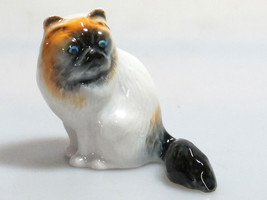 Handmade Miniatures Collectible Ceramic Porcelain Black faced Cat FIGURINE - $5.20