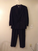 Giorgio Armani Two piece suit Black Tiny Light Stripes Linen-Wool made in Italy