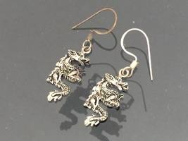 Vintage Sterling Silver Dragon Dangle Earrings  - $15.99