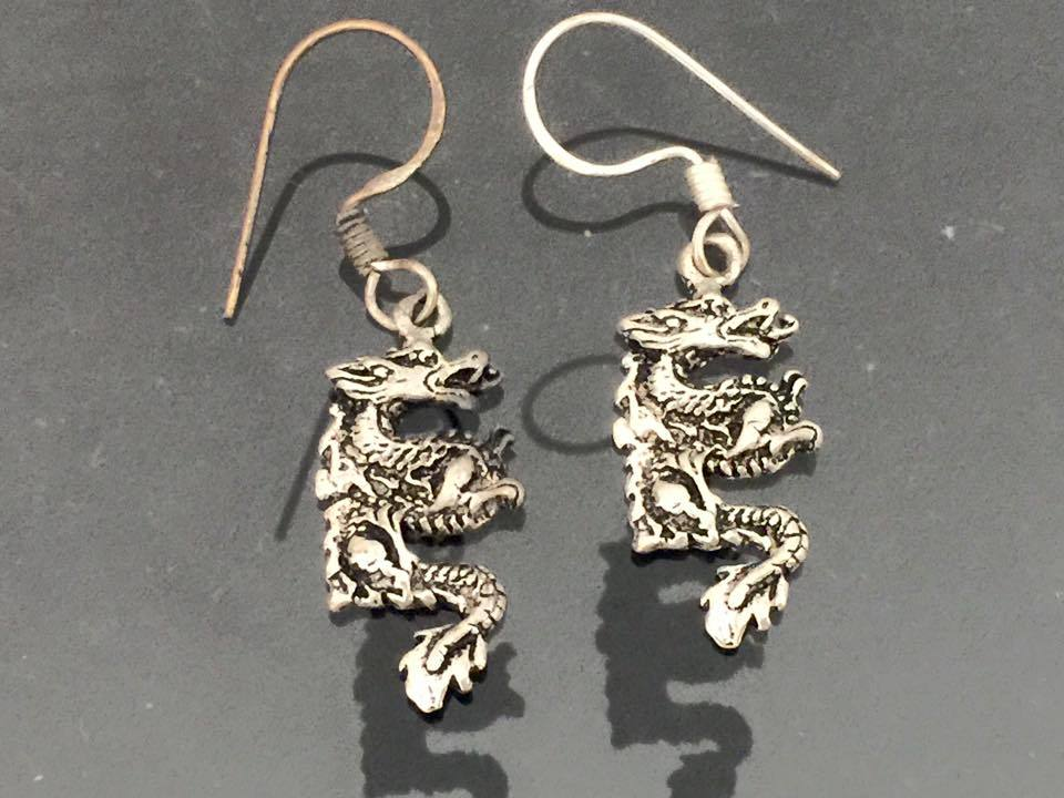 Vintage Sterling Silver Dragon Dangle Earrings