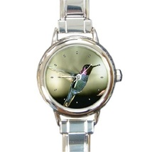 Ladies Round Italian Charm Bracelet Watch Black-chinned Hummingbird Bird... - $11.99