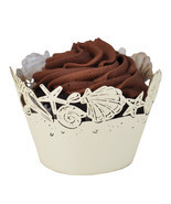Perfect for a Beach Wedding Seashells Laser Cut Cupcake Wrappers, 25 Ct.... - $21.29