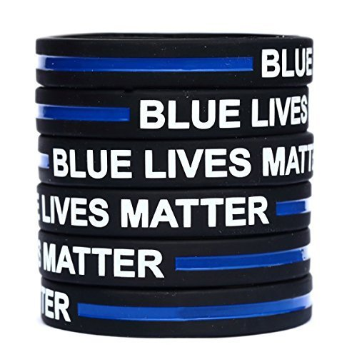 100 Child Blue Lives Matter Thin Blue Line Silicone Wristbands in Support Mem...