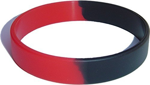 200 Child Size Red and Black Wristbands for Kids Silicone Bracelets [Jewelry]