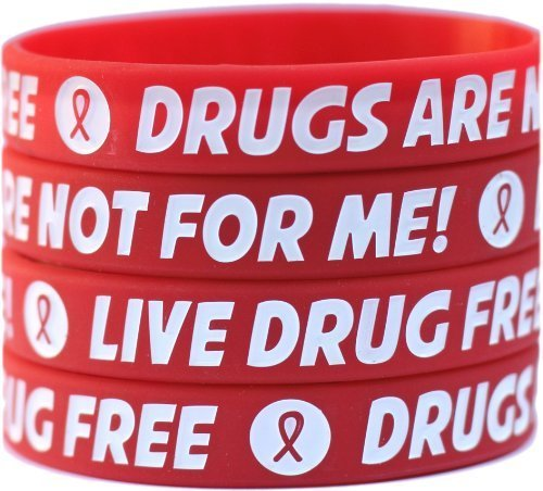 100 Live Drug Free Wristbands - Drugs Are Not For Me Bracelets with Red Ribbon