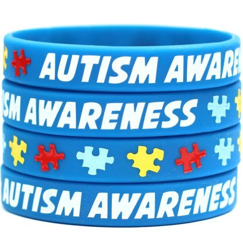 20 Autism Awareness Wristbands - Colorful Puzzle Pieces Silicone Bracelets