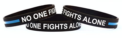 1 No One Fights Alone Wristband Bracelet with Thin Blue Line [Jewelry]
