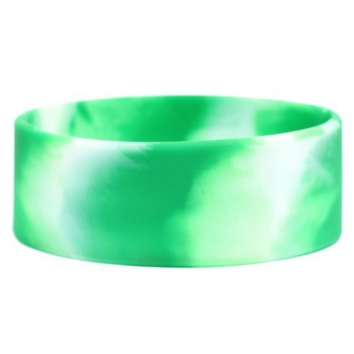 One Inch Wide Simple Swirl Green White Silicone Wristband [Jewelry]