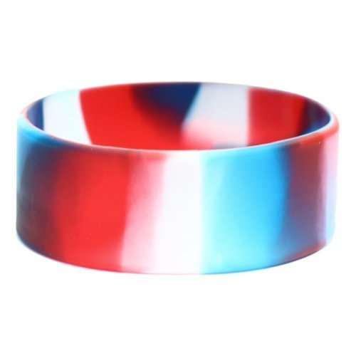 One Inch Wide Simple Swirl Red White Blue Silicone Wristband [Jewelry]