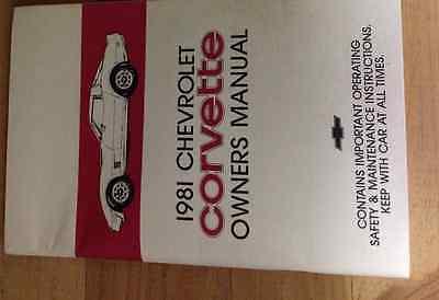 1981 GM Chevrolet Chevy CORVETTE Owners Operators Owner Manual Original OEM