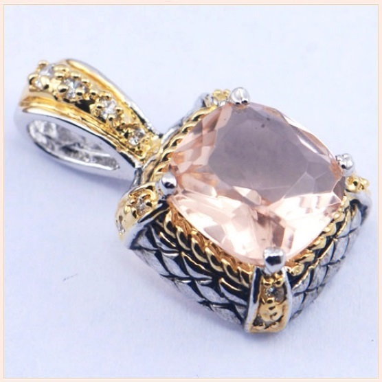 Sterling Silver and Gold Plated Pink Morganite Rectangle Cut Crystal Pendant