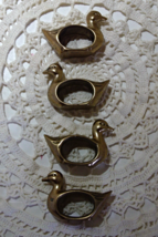 Vintage Set of Four Solid Brass Duck Napkin Rings - $12.00