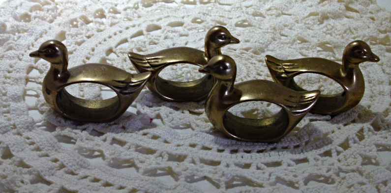 Vintage Set of Four Solid Brass Duck Napkin Rings