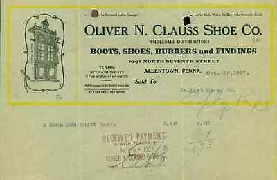 OLIVER N CLAUSS SHOE COMPANY (Allentown PA) vintage handwritten 1927 invoices