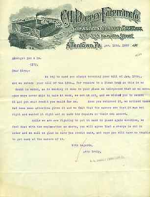C A DORNEY FURNITURE sideboards (Allentyown PA) vintage letter January 15 1908