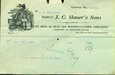J.C. HAUER'S SONS (Lebanon PA) vintage handwritten 1909 invoice for tobacco