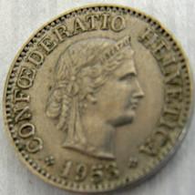1953 B Swiss Coin 10 Rappen Confoederatio Helvitica Circulated Ungraded - $4.90