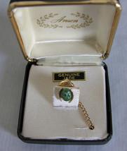 Vintage Anson Goldtone Genuine Jade Tie Tack Or... - $9.85