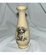 Porcelain Bud Vase Puppy with Flower Gold Trimm... - $11.83