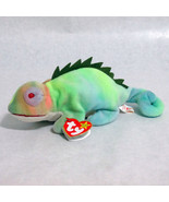 Ty Iggy Beanie Baby Iguana Beanbag Plush 1997 Rainbow Fabric Error - $22.20