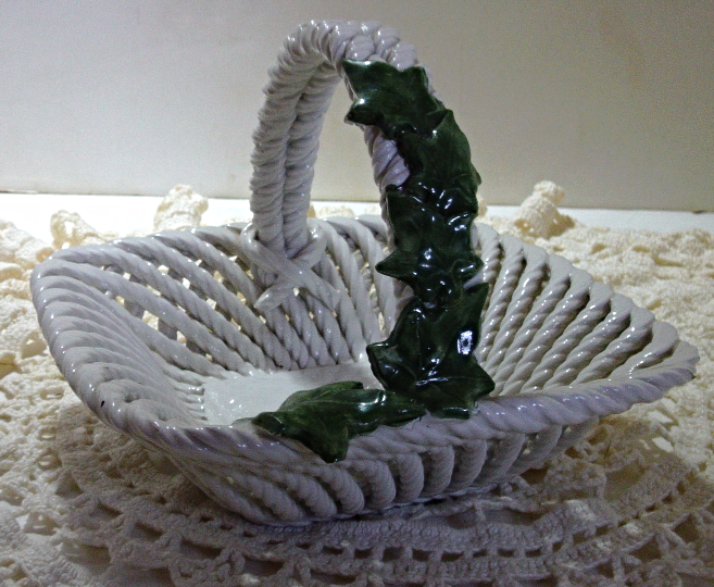 Vintage Italy CAPODIMONTE Basket Weave with Ivy Basket