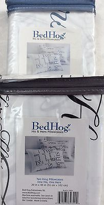201-500, Bed Hog Two King Pillowcases, One His, One Hers, 100% Cotton Sateen