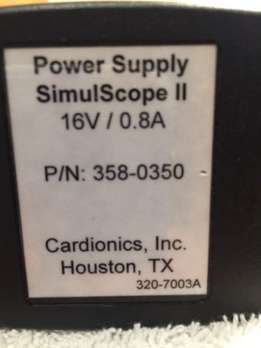 Cardionics Simulscope II Power Supply 16v 0.8A PN 358-0350 Stethoscopes