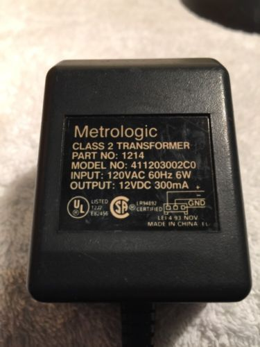 Metrologic 411203002C0 6.2W 12VDC 300mA  AC Adapter