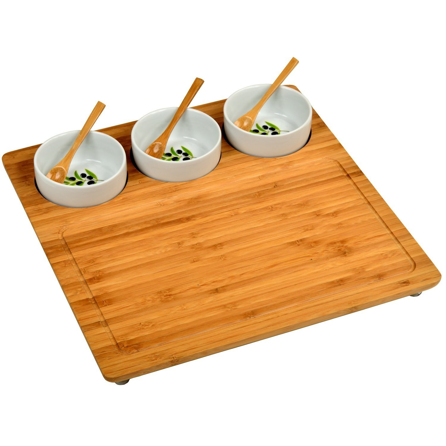 Serving Tray Square Bamboo 3 Ceramic Bowls Spoons Entertaining Party Wine Cheese