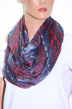 NWT Collection XIIX Eighteen Gypsy Red Navy Infinity Loop 48x64 - $10.68