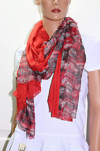 NWT Collection XIIX Eighteen Double Sided Flora Wrap Scarf 32x60 Fire Is... - $5.73