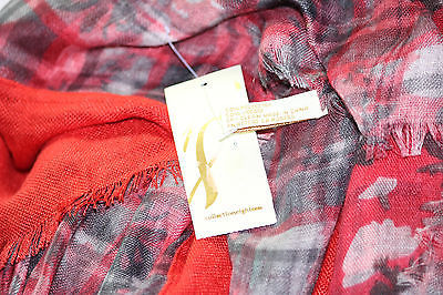 NWT Collection XIIX Eighteen Double Sided Flora Wrap Scarf 32x60 Fire Island Red
