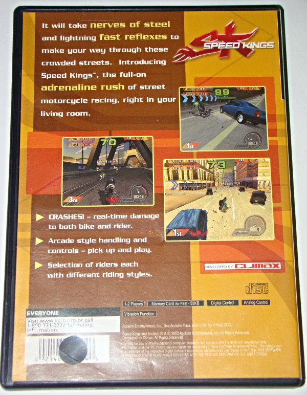 Playstation 2 - ACCLAIM - SPEED KINGS (Complete with Instructions)