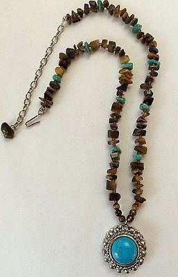 "GRAZIANO TURQUOISE & BROWN BEADED NECKLACE~18""-20"" LENGTH~NICE"