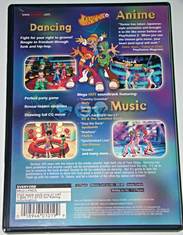 Playstation 2 - UNISON - REBELS OF RHYTHM & DANCE (Complete with Instructions)