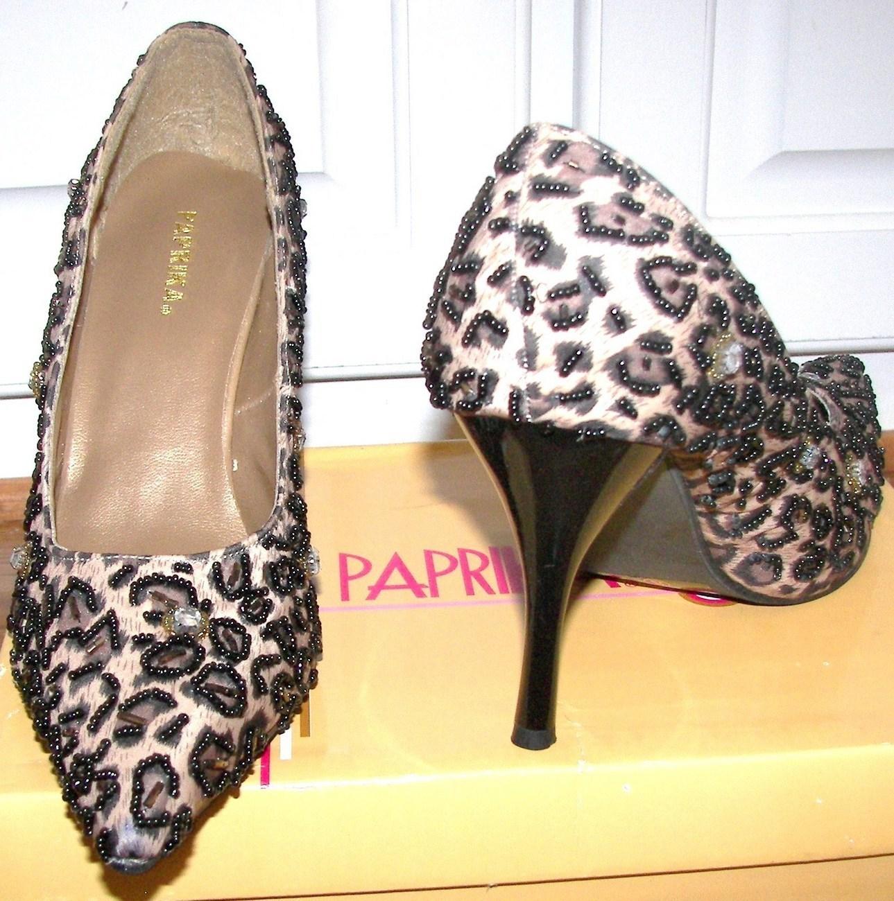 Leopard Paprika Ladies Embellished Pumps Shoes Size 8 Bonanza