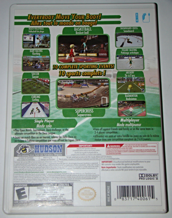 Nintendo Wii - HUDSON - Deca SPORTS (Complete with Manual)