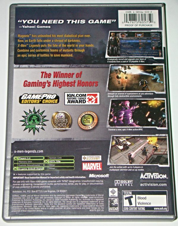 XBOX - ACTIVISION - X MEN LEGENDS (Complete with Instructions)