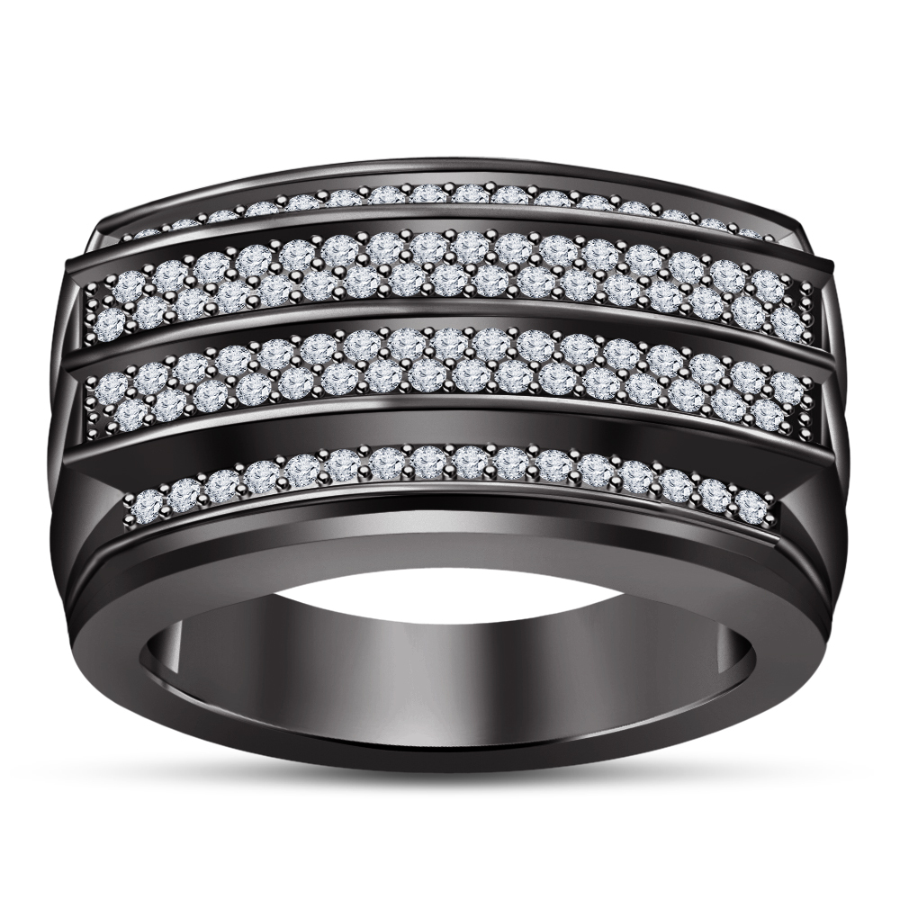 Solid .925 Sterling Silver Black Rhodium Plated Men's Fashion Four Row Band Ring