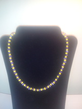 Handmade Yellow & Purple Mix Beaded Necklace - $4.59