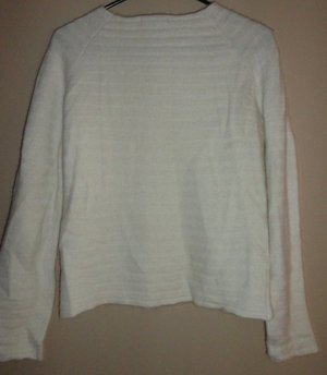 Women's Deane & White Lambswool Blend Cream Stripe Ribbed Sweater Size: Small