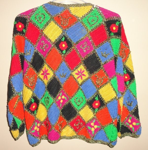 Women's Hand Knit For the Limited Bright Colorful Sparkly Sweater Size: Large