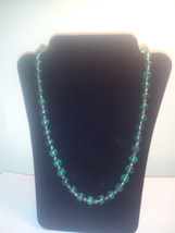 Handmade Teal Green & Purple Glass Beaded Neckl... - $2.79