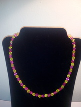 Handmade Pink & Yellow Beaded Necklace - $3.50
